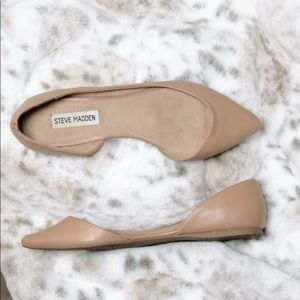 Steve Madden nude leather pointed toe flats